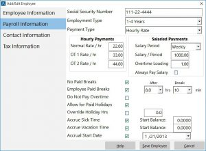 The employee payroll information screen