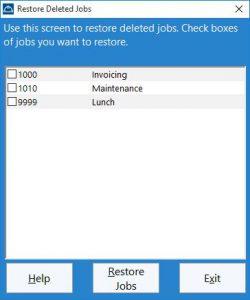 Restoring deleted jobs
